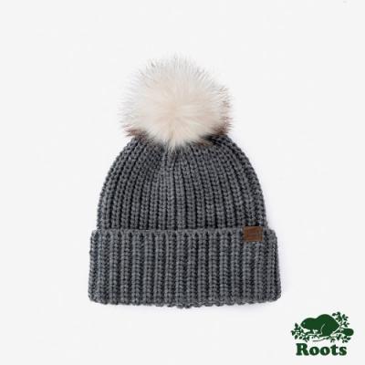 ROOTS 配件- 奧莉維亞毛球針織帽-灰
