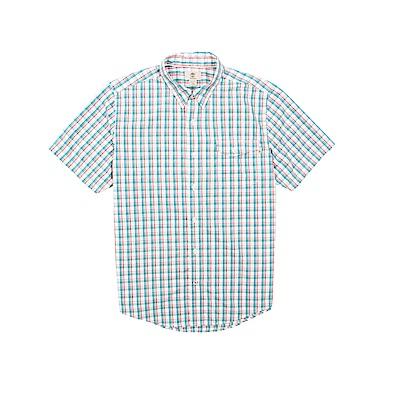 Timberland 男款紅藍格子休閒短袖襯衫 | A1M31E57
