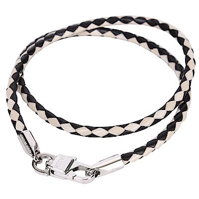 BALLY STABBIO 雙色編織小牛皮手環(黑x米)