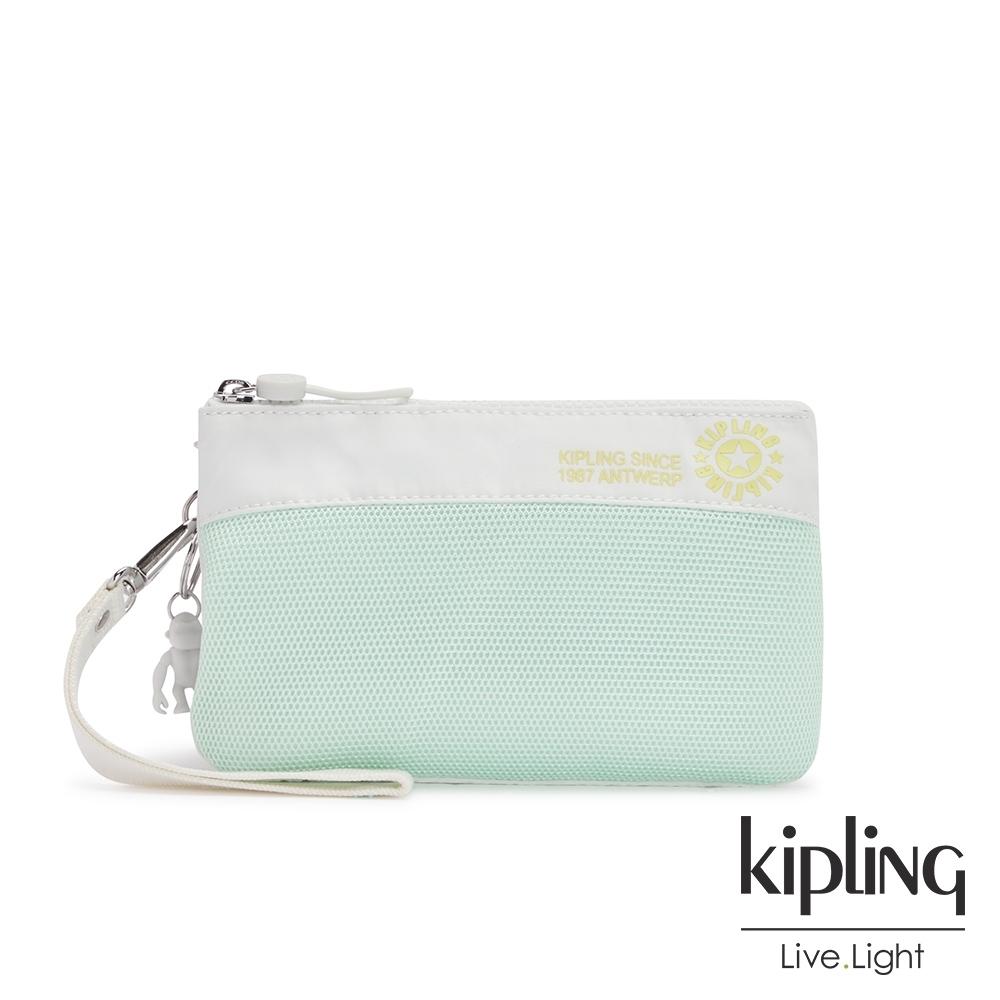 Kipling 清新薄荷綠拼接網點多層配件包-CREATIVITY XL