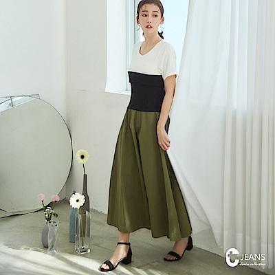 CANTWO JEANS假兩件平口束腰洋裝-共兩色