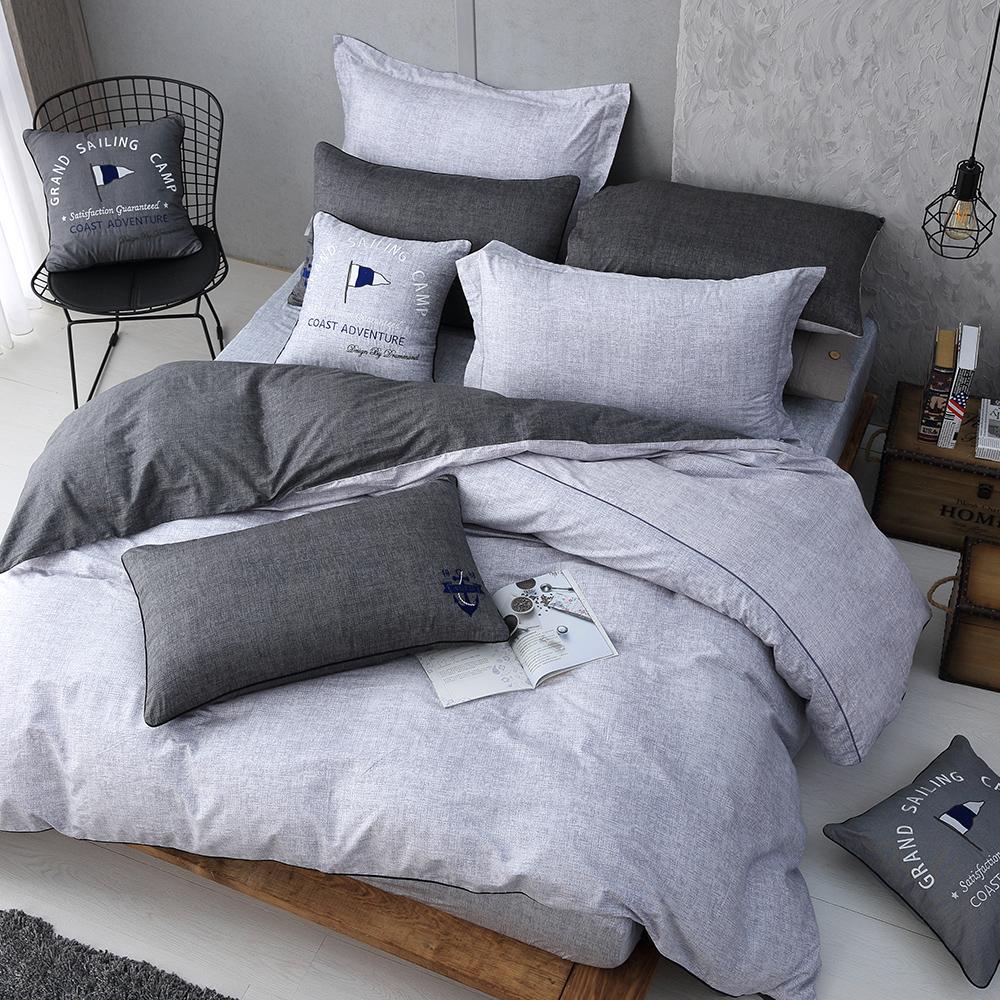 OLIVIA LUCAS 雙色 標準雙人床包美式枕套三件組 200織精梳純棉 台灣製