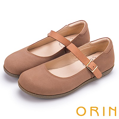 ORIN 渡假休閒必備 牛皮素面腳背帶休閒平底鞋-棕色