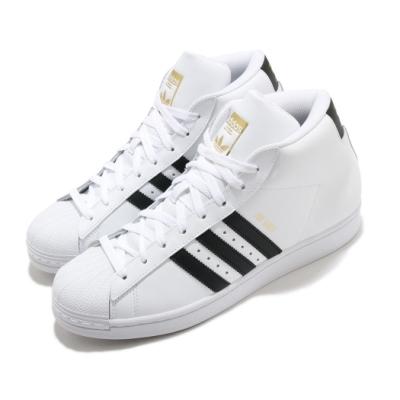 adidas 休閒鞋 Pro Model 復古 中筒 男女鞋 海外限定 愛迪達 三葉草 金標 皮革 白 黑 FV5722
