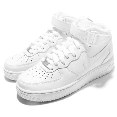 Nike 休閒鞋 Air Force 1 Mid 07 女鞋 復古 高筒 皮革 魔鬼氈 白