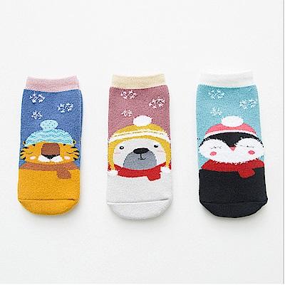 baby童衣 加厚童襪三入組 卡通毛圈保暖襪 88034