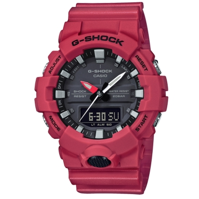 G-SHOCK 實用必備絕對強悍元素設計休閒錶(GA- 800 - 4 A)紅色 48 . 6 mm