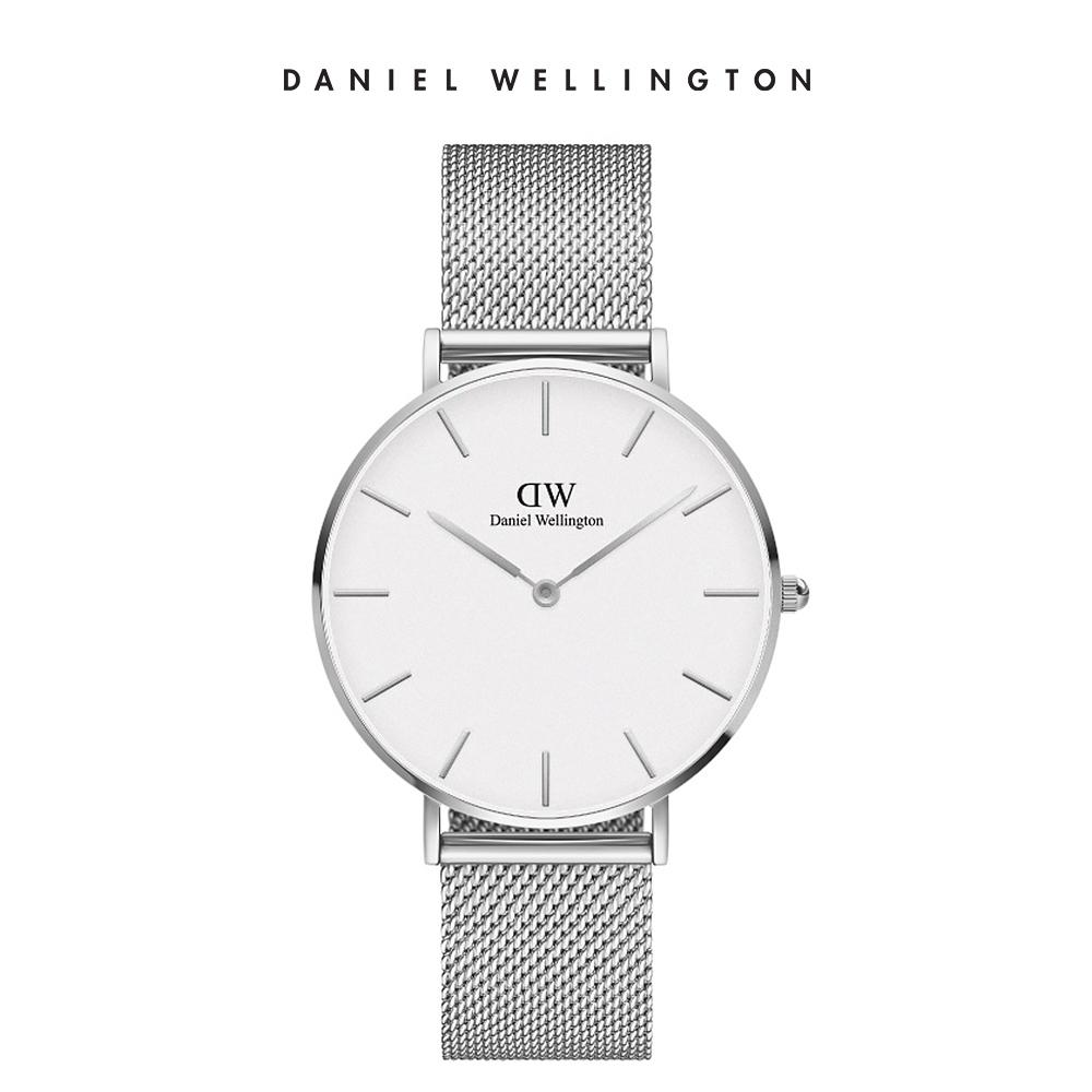 DW 手錶 官方旗艦店 36mm銀框 Petite 星鑽銀米蘭金屬錶