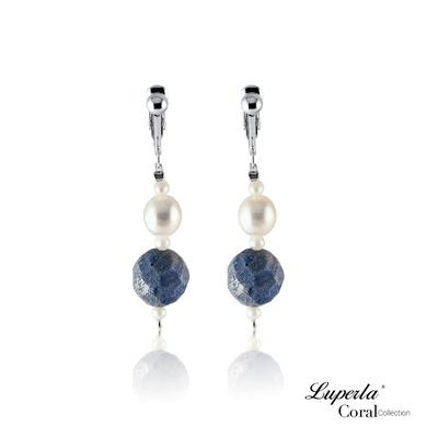 大東山珠寶 天然珍貴藍珊瑚 珍珠夾式耳環
