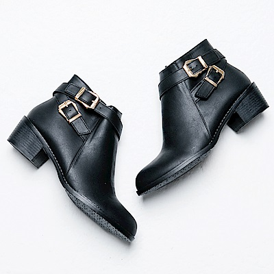 River&Moon短靴-韓系交叉雙金扣粗跟短靴-黑