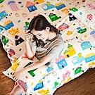 戀家小舖 / 雙人床包枕套組  Sweet home甜蜜的家  雪紡絲磨毛  台灣製