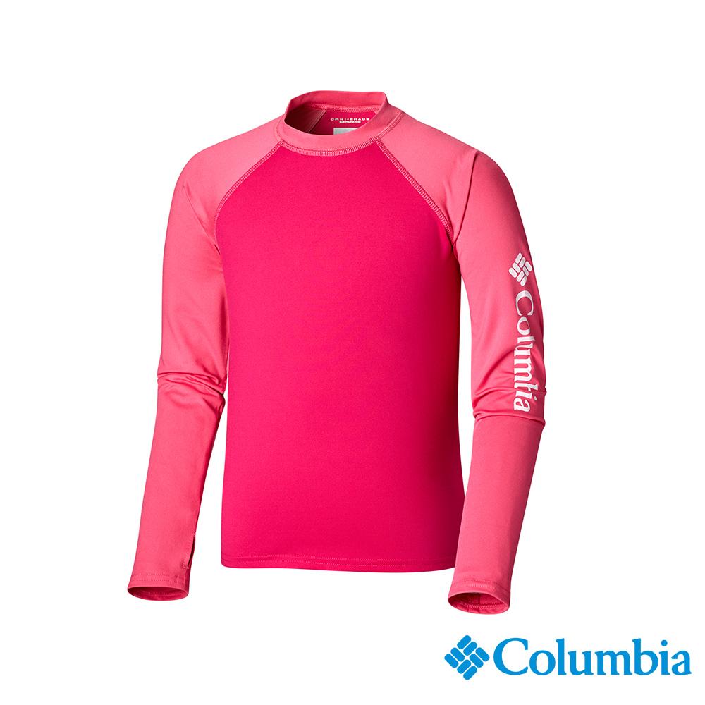 Columbia 哥倫比亞 兒童-UPF50快排長袖上衣-桃紅UAY00170FC