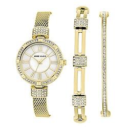 Anne Klein 極光絕奢手錶手鍊套組-白珍珠母貝x28mm AK-2844GBST