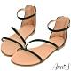 Ann'S黃金比例三條帶-頂級牛皮後拉鍊平底涼鞋(版型偏小)-黑 product thumbnail 1