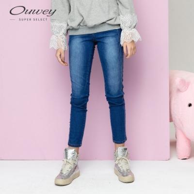 OUWEY歐薇 塑型剪裁小直筒牛仔褲(藍)