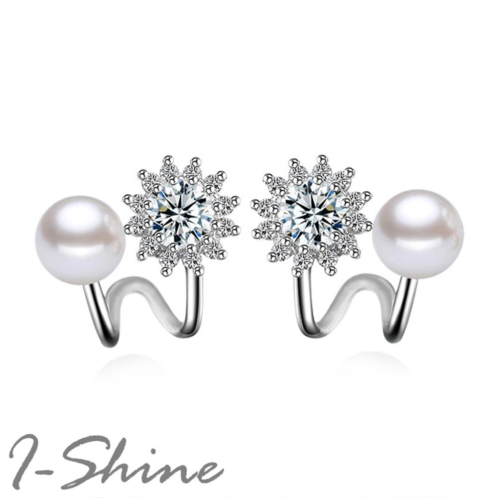 I-Shine-正白K-六芒星光-韓國垂墜六芒星閃耀鑲鑽造型珍珠銀色耳針耳環DB50