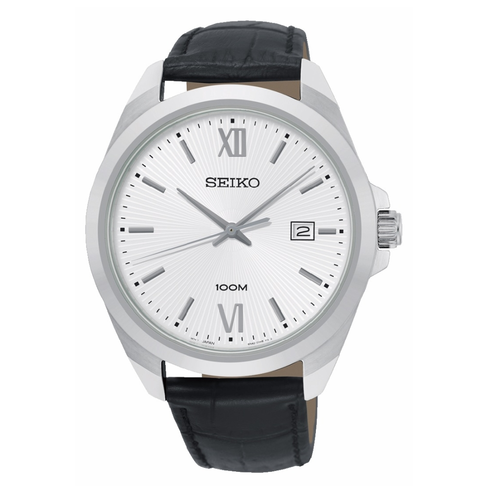 SEIKO精工 簡約三針質感皮帶腕錶6N42-00H0C/SUR283P1