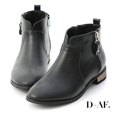 D+AF 人氣聚焦.小V口側拉鍊低跟短靴*黑