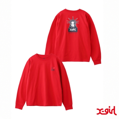 X-girl FEMINISM L/S REGULAR TEE長袖T恤-紅