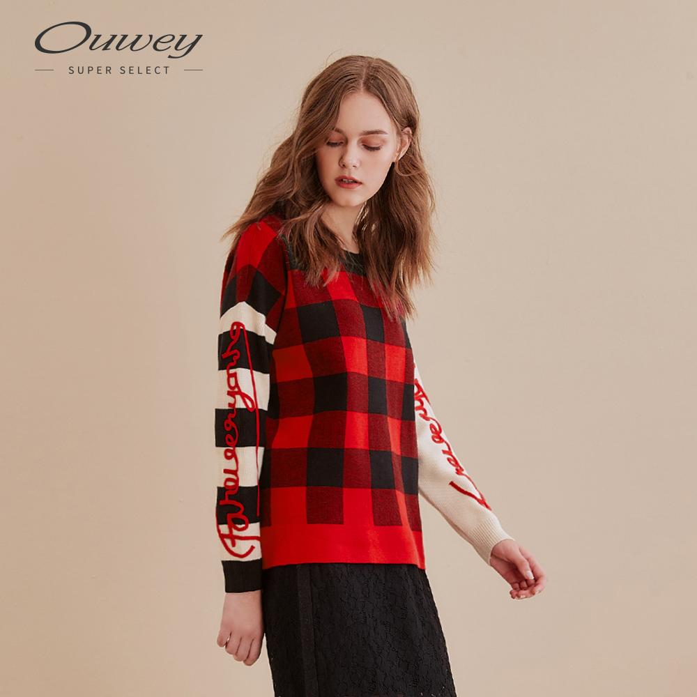 OUWEY歐薇 街頭風撞色格紋針織上衣(藍/紅)