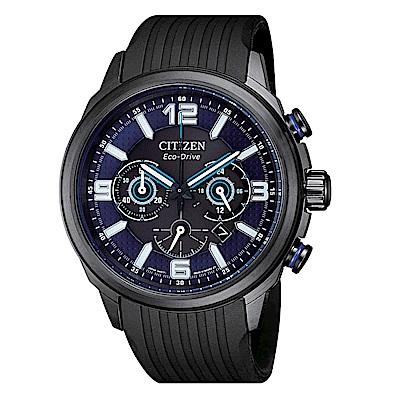CITIZEN 簡約風格光動能三眼計時錶-CA4385-12E