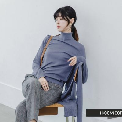 H:CONNECT 韓國品牌 女裝 -兩件式披肩高領針織上衣-藍
