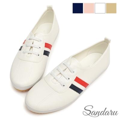 山打努SANDARU-小白鞋 軟皮革側配色鬆緊鞋帶休閒鞋-藍