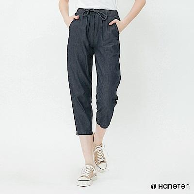 Hang Ten - 女裝 - 鬆緊抽繩棉質九分褲 - 深藍