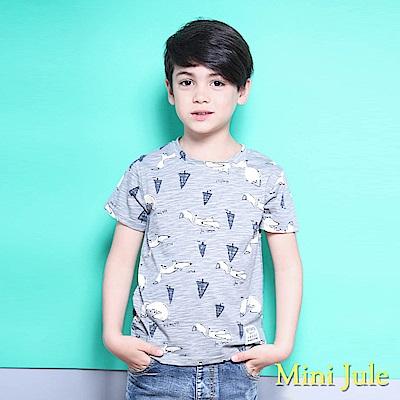 Mini Jule 上衣 森林小狐狸印花混色短袖T恤(灰 )