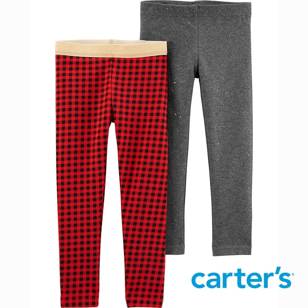 【Carter's】紅色格紋2件組內搭褲(2T-5T)  (台灣總代理)