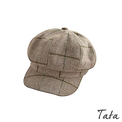 格紋毛呢英倫帽 共二色 TATA