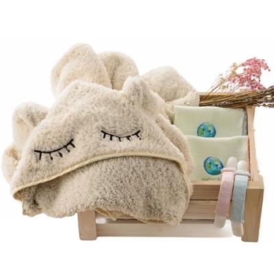 【台灣 Nature Me】親親。寶貝新生兒禮盒 (包巾、哺乳巾、背巾披風、造型披風)