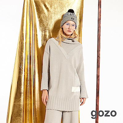 gozo 羅紋高領假二件針織上衣(二色)