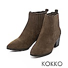 KOKKO-沙漠中的月亮真皮粗跟短靴-深墨綠