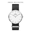 DW 手錶 官方旗艦店 40mm銀框 Classic 寂靜黑織紋錶