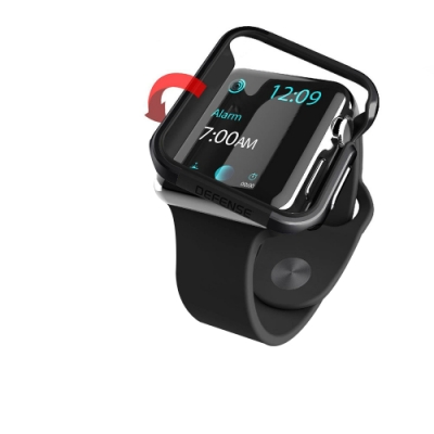 Apple Watch 38mm 鋁合金雙料保護殼 保護邊框(經典黑)