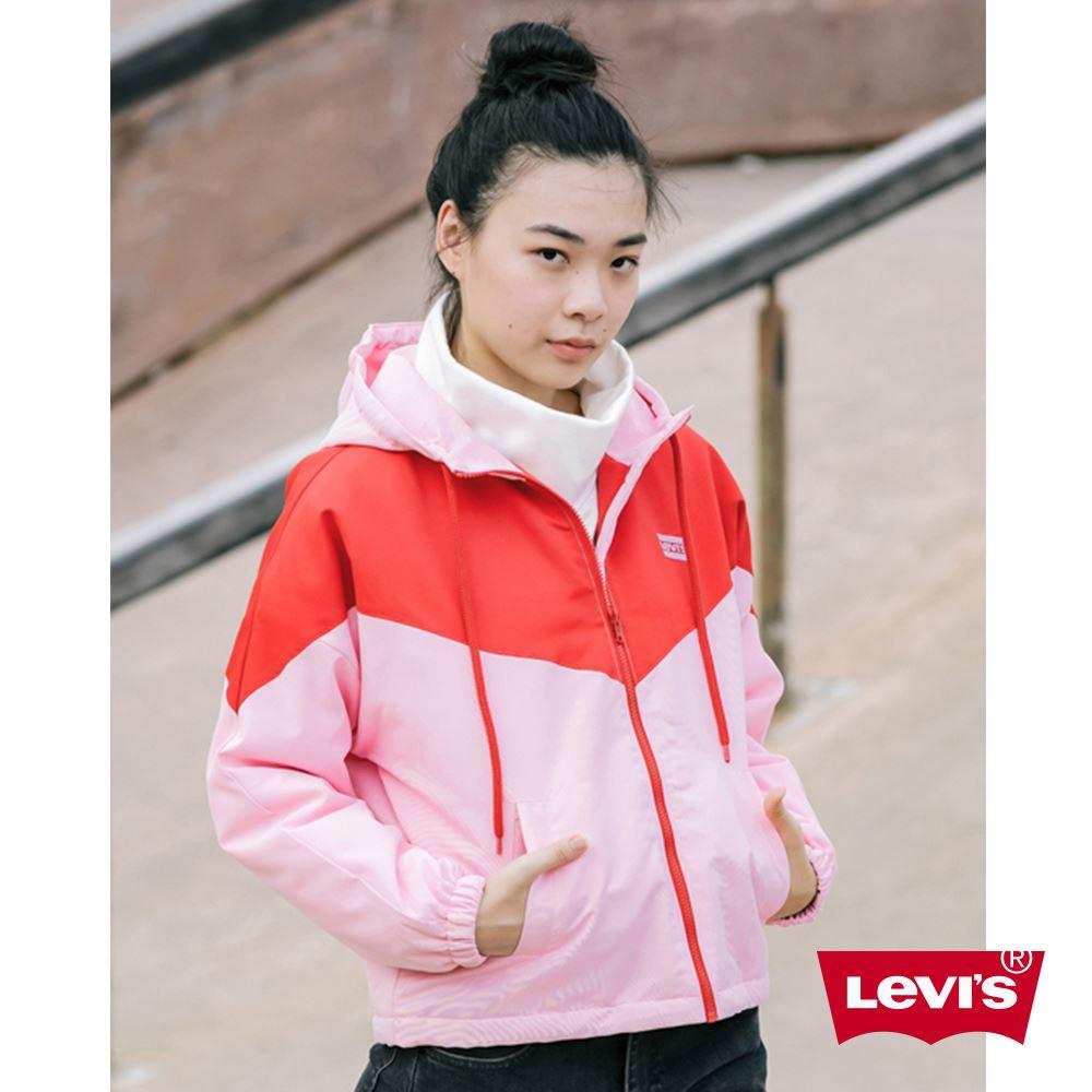 Levis 女款 鋪棉連帽外套 色塊拼接 經典Logo