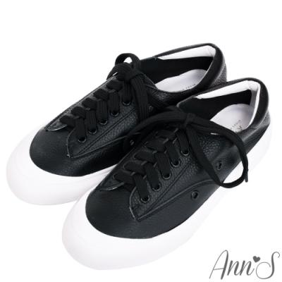 Ann'S餅乾家族-綁帶全真皮小白鞋-黑