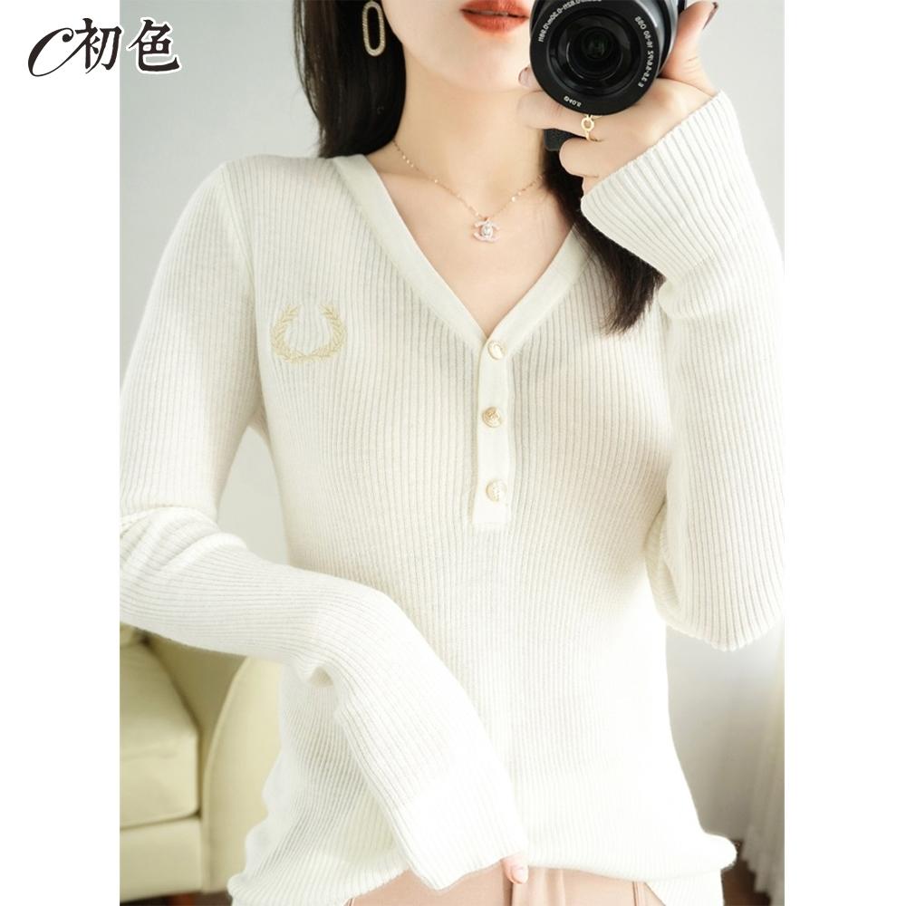 初色  韓版V領針織衫-共5色-(M-2XL可選)