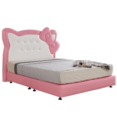 【AT HOME】童趣卡通5尺耐燃皮兒童床/雙人床(不含床墊)-凱蒂貓