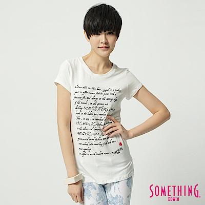 SOMETHING T恤 英文草寫圓領T恤-女-白色
