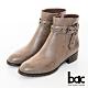 【bac】中性時尚雙色感簡約皮帶環釦短靴-雙芋色 product thumbnail 1
