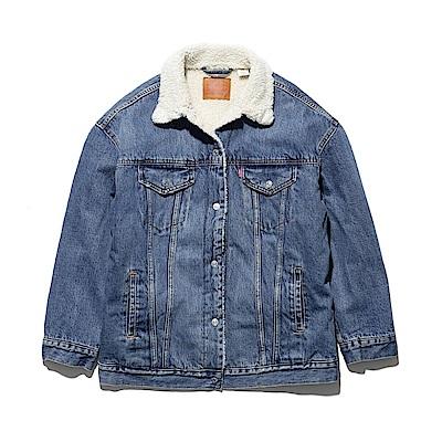 Levis 女款 牛仔外套 復古極寬鬆版型 Sherpa棉花絨 藍色可拆式毛領