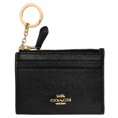 COACH黑色防刮全皮前卡夾鑰匙零錢包