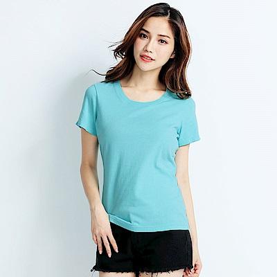 101原創 經典水洗原色圓領素T恤-女-蒂芬妮藍