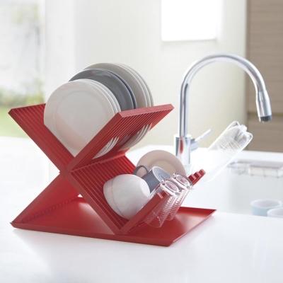 【YAMAZAKI】AQUA全能X型瀝水架-紅★置物架/多功能收納/廚房用品/居家收納
