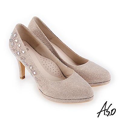 A.S.O 流金歲月 奢華水鑽金蔥布高跟鞋 金
