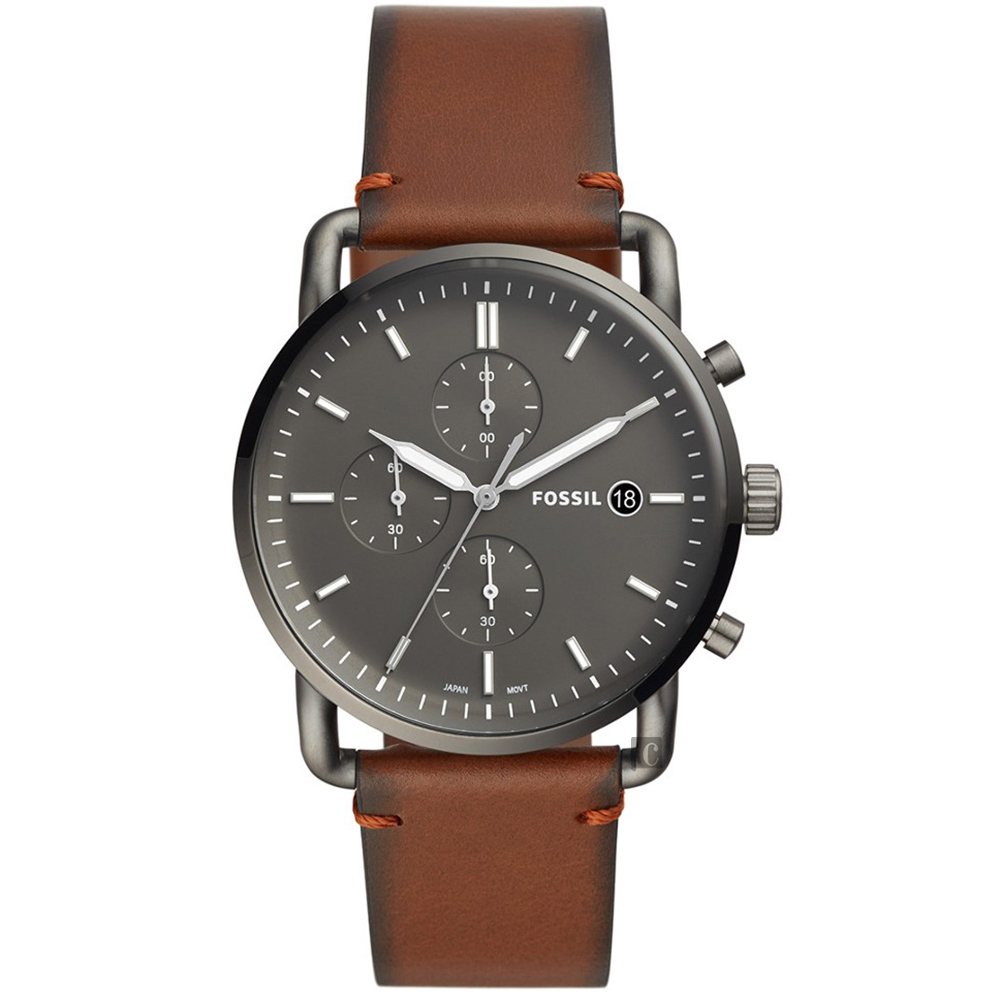 FOSSIL 潮流時尚石英計時手錶(FS5523)-灰黑x咖啡/42mm