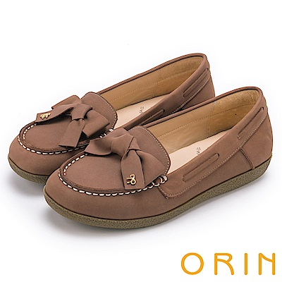 ORIN經典復古時尚真皮手縫蝴蝶結平底鞋可可