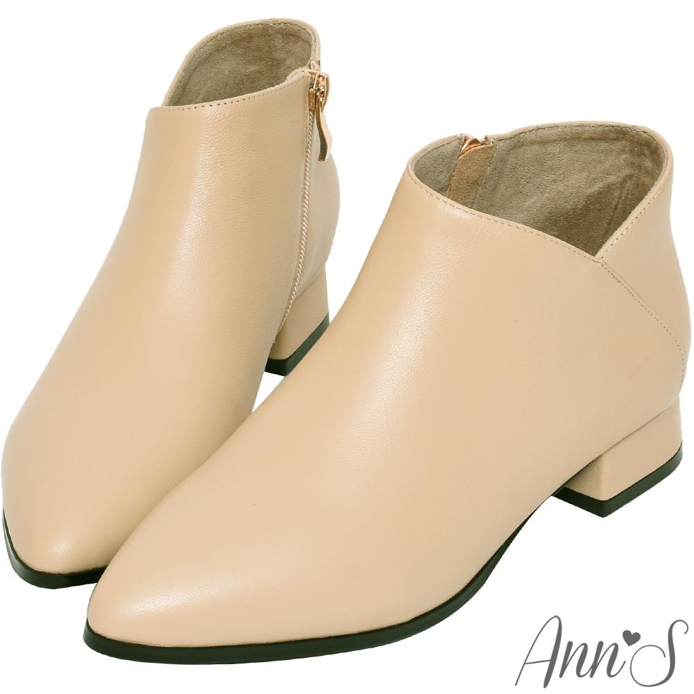 Ann'S無負擔-真皮小羊皮側V口尖頭平底短靴-杏(版型偏小)